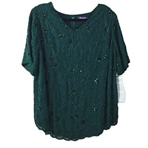 Sequined & Beaded Green V-Neck Short Sleeve Blouse